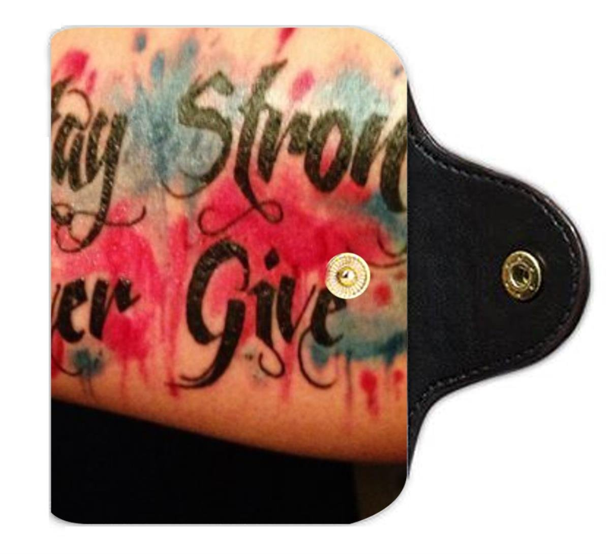 Stay Strong Never Give Up Tattoo PU Leather office Business Card Holder PU Leather office Business Card Holder