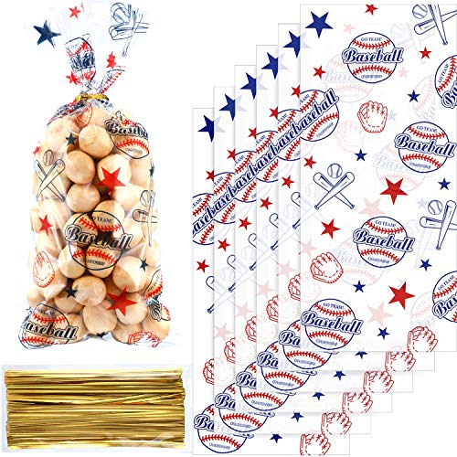 Chuangdi 100 Pack Baseball Party Cello Bags Cellophane Bag for Birthday Party Supplies Favors Party Supply Bags Goody Favor Bags ()