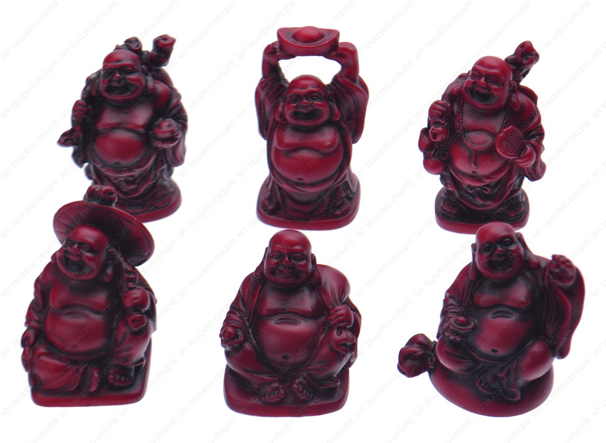 Happy laughing Figurine Buddha Statue, Set of 6, 2 Inches, Bonze M.V. Trading BZ22281