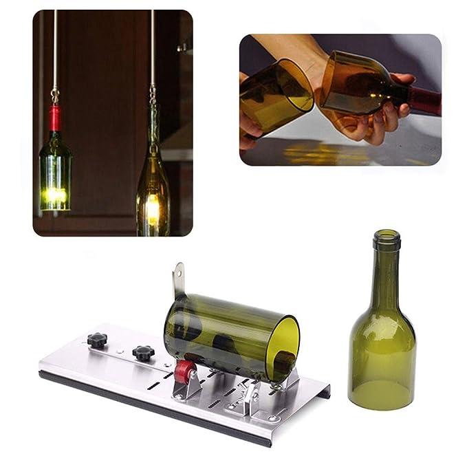 RUNGAO Máquina de cortar botellas de cristal para hacer vasos, kit de herramientas de corte de tarro redondo para reciclar botellas de vino de cerveza DIY ...