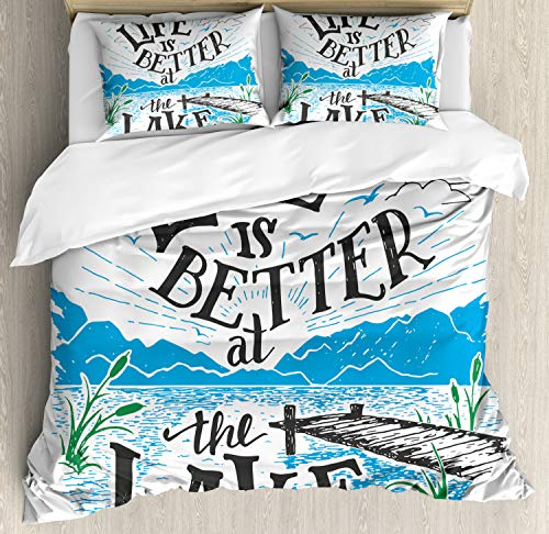 Cabin Decor King Size Duvet Cover Set by Ambesonne, Life is Better at the Lake Wooden Pier Plants Mountains Outdoors Sketch, Decorative 3 Piece Bedding Set with 2 Pillow Shams, Blue Black Green