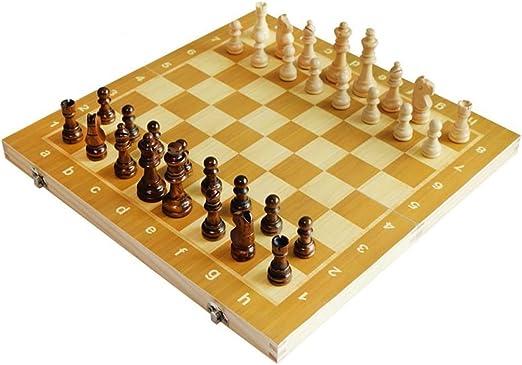 GuanJan Piezas de ajedrez magnéticas Plegables de Madera de ...