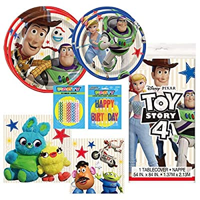 Woody and Buzz Kids Birthday Party Tableware Supplies Includes Dinner Plates, Dessert Plates, Lunch Napkins, Beverage Napkins, 1 Table Cover, Happy Birthday Candles, AND 20 More Candles!: Toys & Games