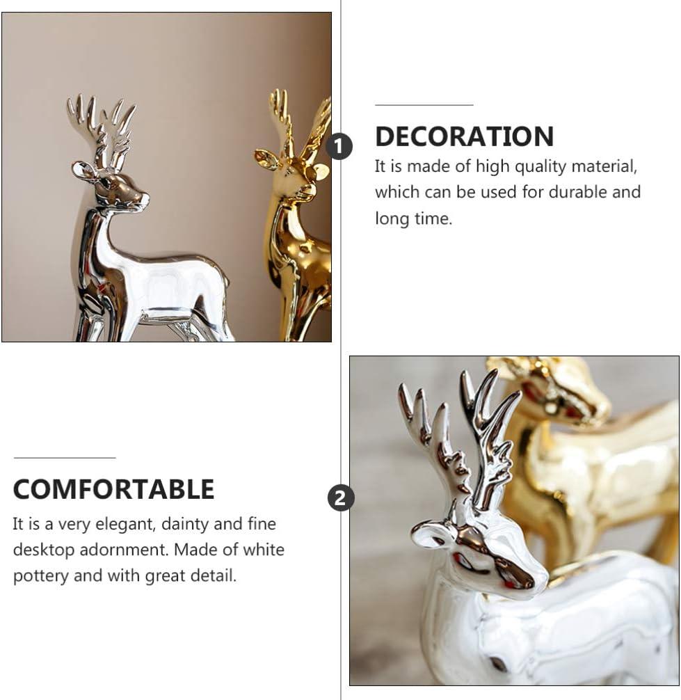 GARNECK Holiday Reindeer Figurines Christmas Reindeer Sculpture Ceramic Fawn Figurine for Home Office Decor Silver