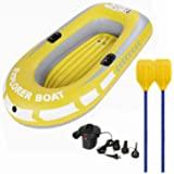 Inflatable Boat Fishing Boat Durable Portable Folding Yachts for Two people with Electric air Pump 2 Paddles