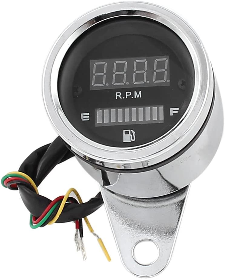 uxcell Motorcycle LED Digital Tachometer Oil Fuel Gauge