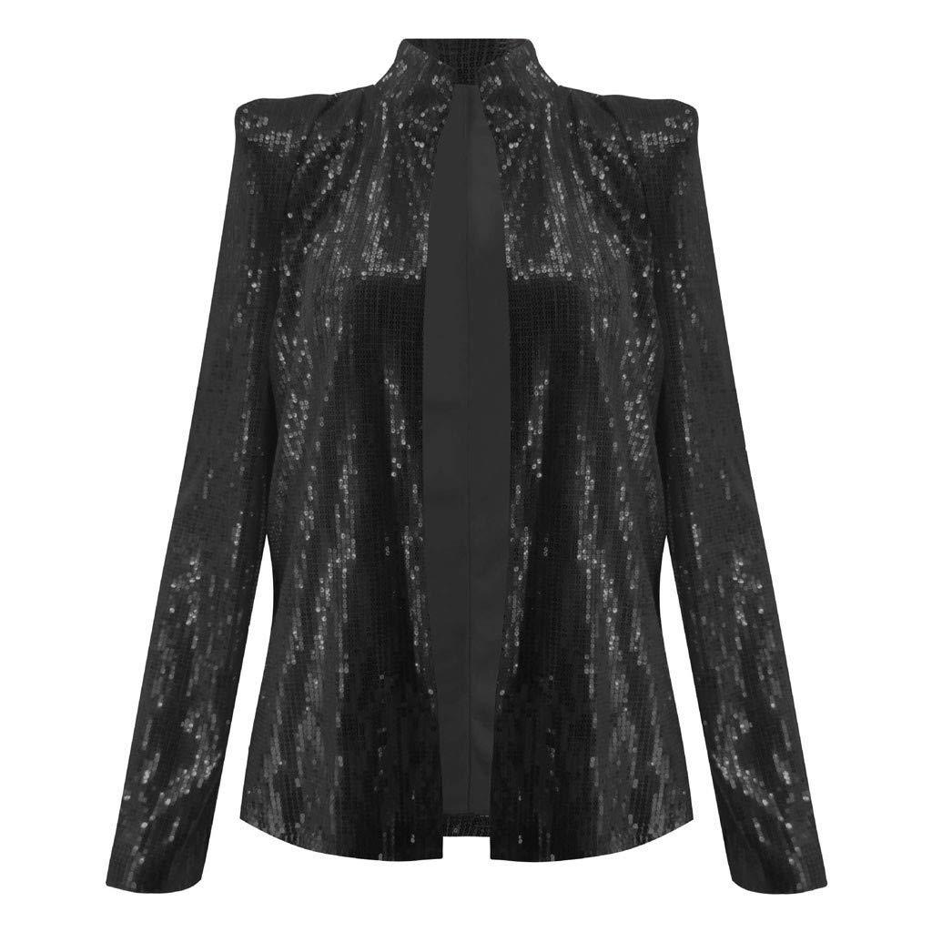 Respctful✿Women Sequins Coat Bomber Jacket Long Sleeve Zipper Streetwear Casual Loose Glitter Outerwear Black by Respctful Women's Clothing