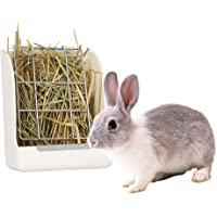 Portable Hay Feeder Less Wasted Hay Rack Manger for Rabbit Guinea Pigs Chinchilla Plastic Food Dispenser White