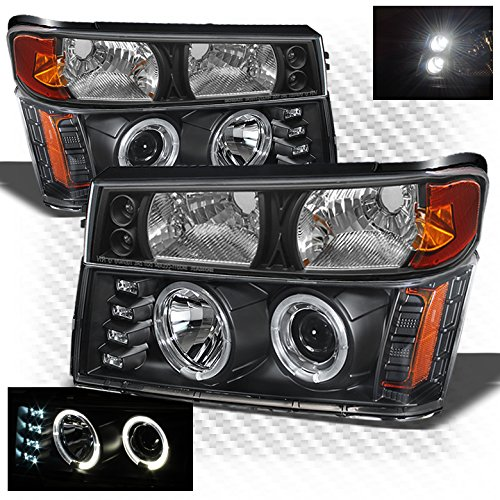 Xtune for 2004-2012 Chevy Colorado/GMC Canyon, 2006-2008 Isuzu I-Series Black Halo Projector Headlights + Bumper Lights ()