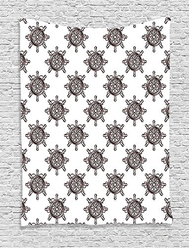 Spoke Charcoal (Ships Wheel Collection Pattern of An Old-Fashioned Ships Wheel With Radial Spokes in Square Format Brown White Supersoft Throw Fleece Blanket)