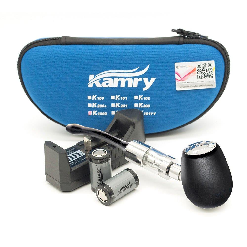 Kamry K1000 E-Pipe Style Kit Completo Classico Con Custodia, 2PCS 900mAh Batterie Grande Tubo di Sigaretta Elettronica A Vapore, 510 / EGO Thread 2ML Atomizzatore, Nicotina Libera (Nero)