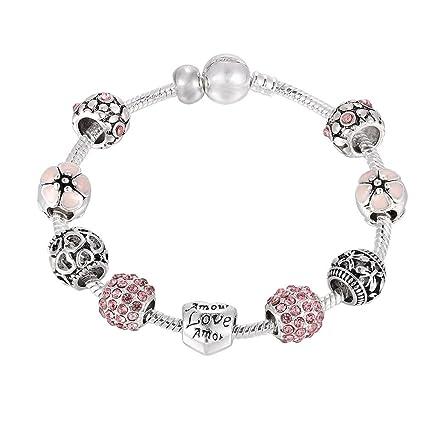 Braccialetti Per Le Donne Lady Copper Strass Bead Jewelry Heart