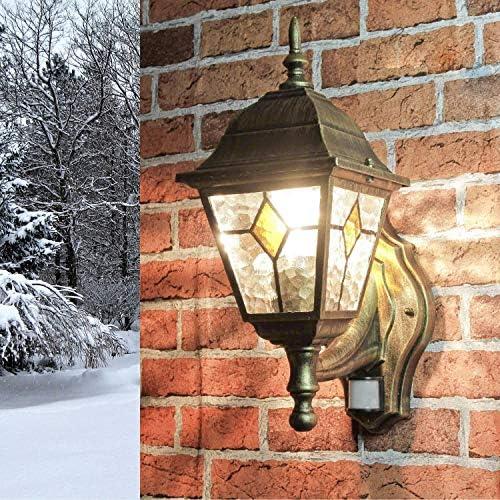Applique applique da parete da esterno con rilevatore di movimento con vetro in stile Tiffany verso l'alto E27 230V illuminazione esterna da giardino sensore da giardino