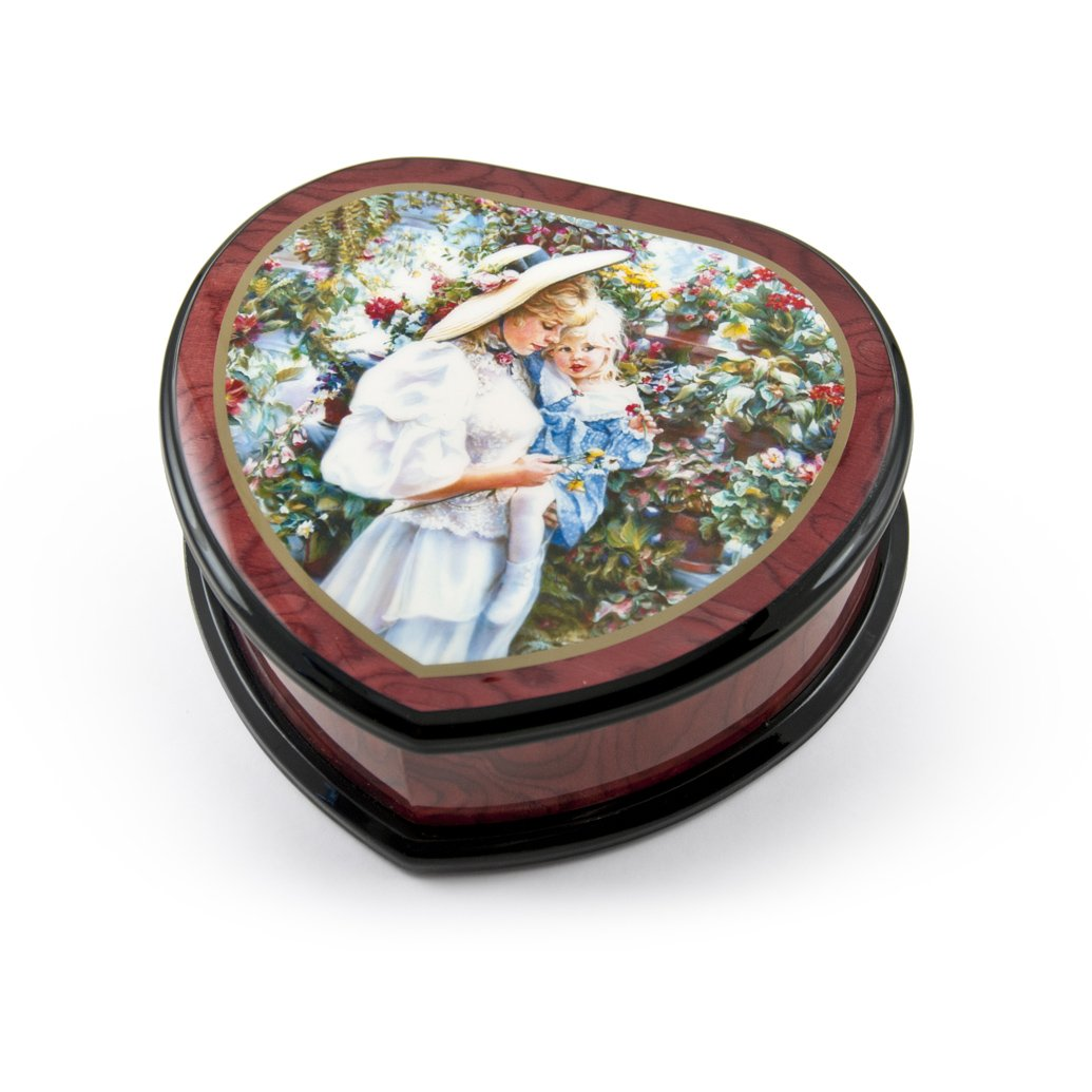 Adorable Heart Shape Painted Ercolano Music Jewelry Box Titled -Mother and Child in Greenhouse by Sandra Kack - There is No Business Like Show Business