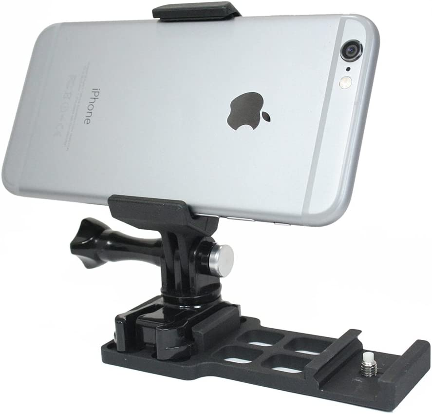 Action Mount - Cantilever Picatinny Rail Mount + Locking Smartphone Mount for Video Recording. Spring Loaded Smartphone Holder; Fully Adjustable + Wrench. (Cantilever Rail)