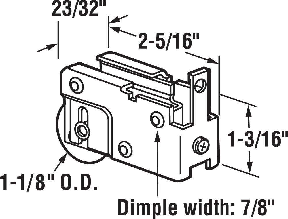 Prime-Line Products D 1528 Sliding Door Roller Assembly, 1-1/8-Inch Steel Ball Bearing