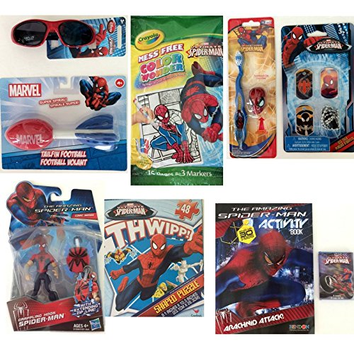 Spider-man Spiderman Marvel Summer Fun Bundle - Grappling Hook Figurine, 100% UV Sunglasses,Toothbrush, Color Wonder Pages and Markers, Activity Book and Crayons, Puzzle, Tailfin Football, Dog - Page Sunglasses Coloring