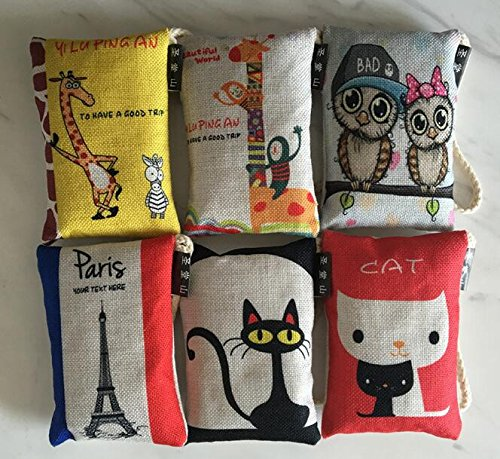 Natural Air Purifier Bamboo Charcoal Bag Air Freshener Most Effective Odor Remove Portable Cute Cartoon Air Freshener for Fridge, Freezers, Closet, Car & Shoes(100g X 6 Pack) (Linen Closet Cabinets)