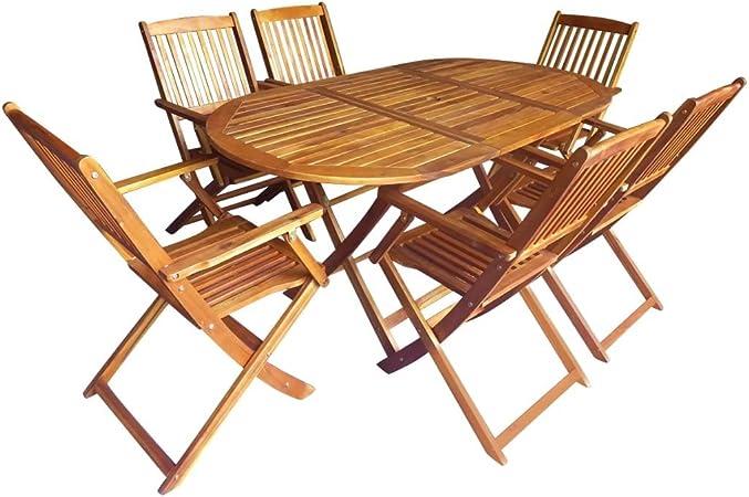 Festnight 7 pcs Salon de Jardin 1 Table et 6 Chaise Pliable en Bois d\'acacia