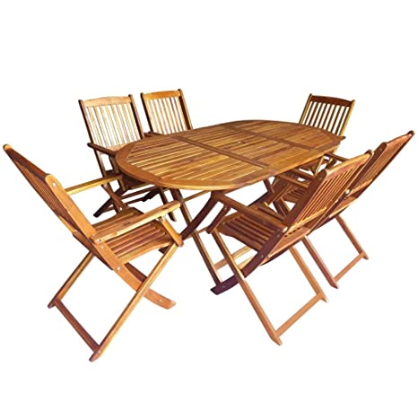 Festnight 7 pcs Salon de Jardin 1 Table et 6 Chaise Pliable en Bois d\'acacia