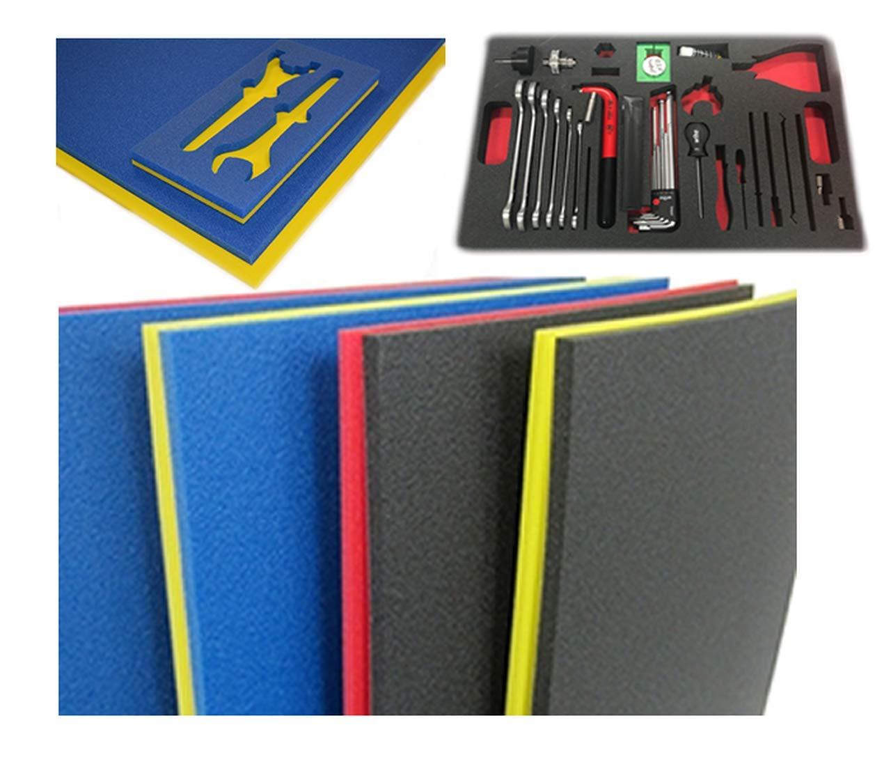5S Tool Box Shadow Foam Organizers 2 Color Custom Size 26.25 x 39.75 , Blue Top Red Bottom