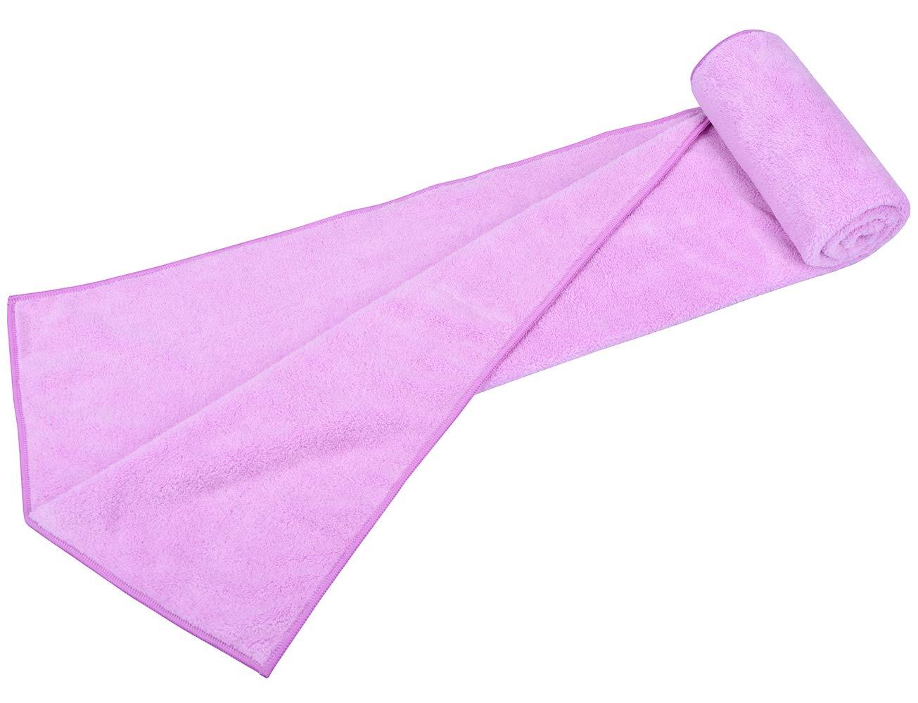 Mayouth Anti-frizz Super Assorbente Asciugamano in Microfibra Capelli Asciugatura Rapida Teli da Bagno per Capelli Lunghi e Spessi 40cmX80cm Purple 3-Pack