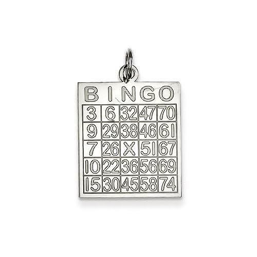 Amazon.com: Plata de ley 925. Bingo Tarjeta Encanto Colgante ...