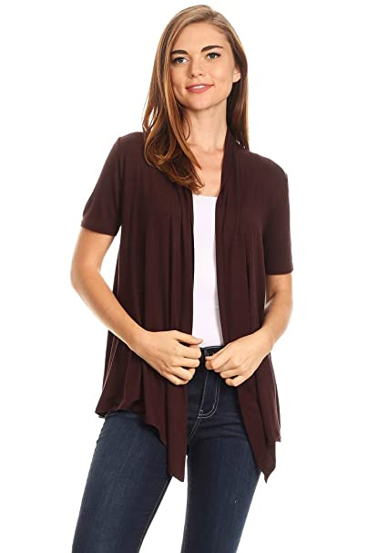 5c438fcdd Women's Solid Short Sleeves Open Front Cardigan. MADE IN USA (S, Brown)