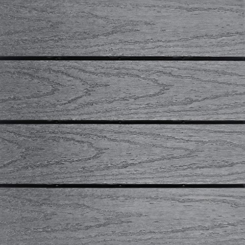 NewTechWood US-QD-ZX-GY Ultrashield Naturale Outdoor Composite Quick Deck Tile (10 Case), 1' x 1', Westminster Gray