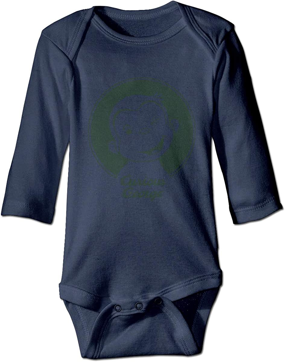 XTYND556 Curious George Newborn Long Sleeve Onesies Bodysuit for Baby Boys Baby Girls Navy