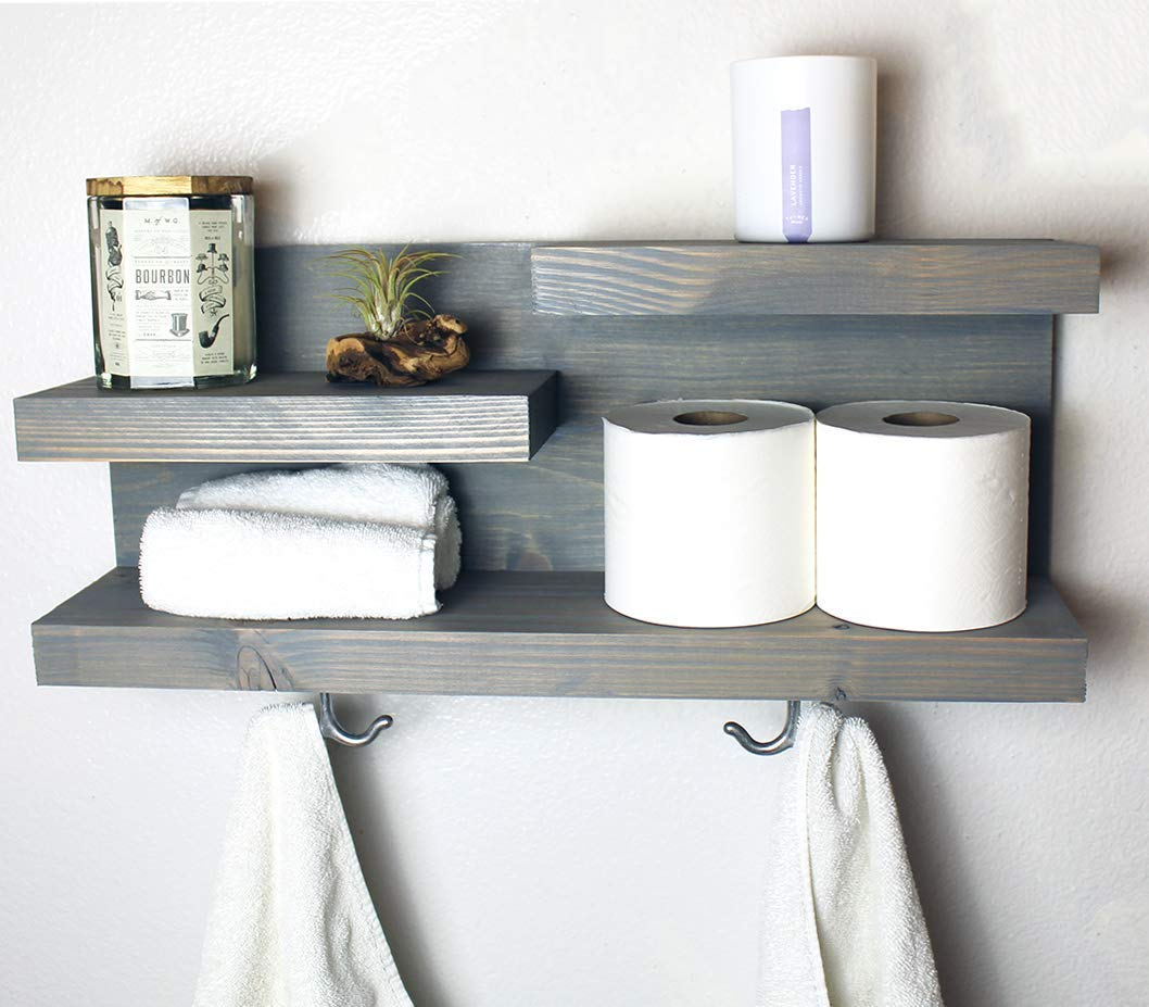 . Amazon com  Modern Farmhouse Bathroom Shelf with Towel Hooks  Handmade