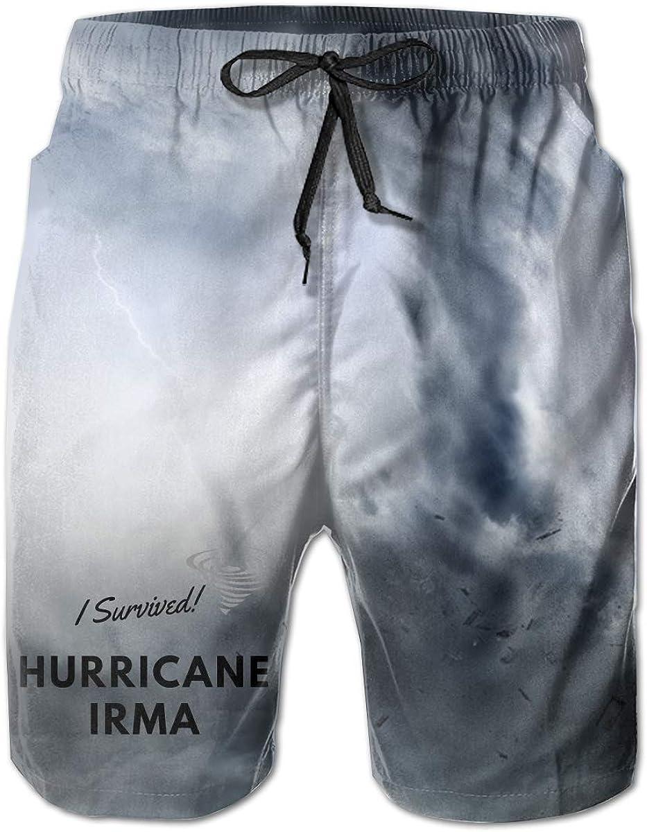 I Survived Hurricane Irma Mens Summer Casual Shorts,Beach Shorts Comfortable Shorts
