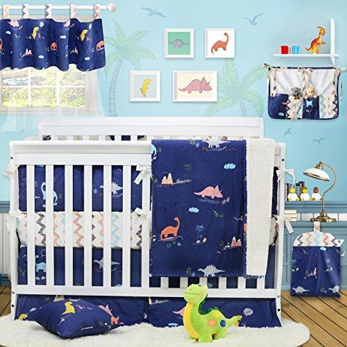 Brandream Dinosaur Crib Bedding Sets for Boys with Bumpers 100% Cotton Baby Nursery Bedding, Blue & Chevron, 11 Pieces