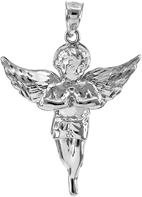 Pendant Necklace Charm Chain 18 Heavenly Angel 18in Solid 925 Sterling Silver CZ Cubic Zirconia Vintage Antiqued Angel