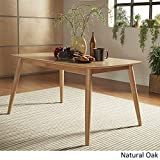 MID-CENTURY LIVING Norwegian Mid Century Danish Modern Tapered Dining Table, 59- Inch Natural Oak Finish