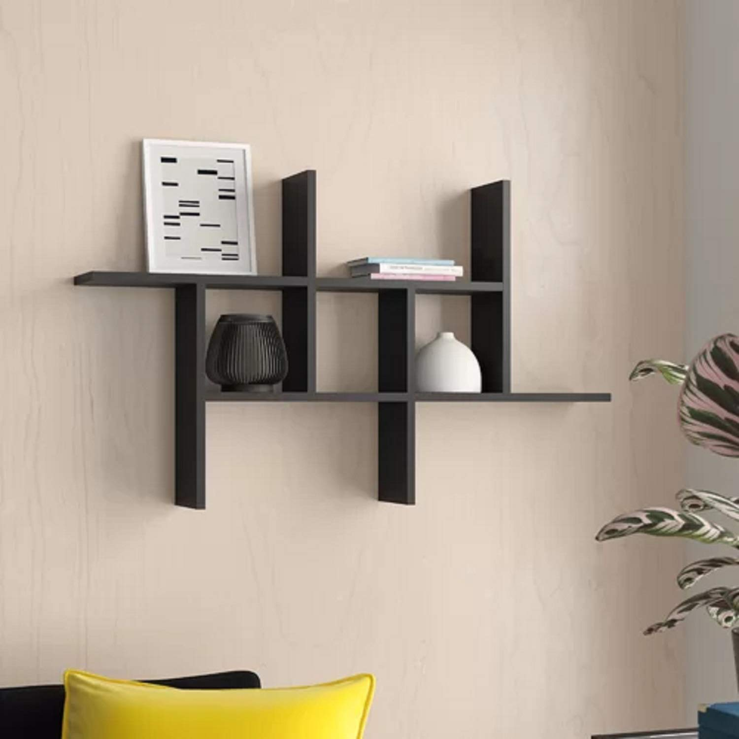 Geometric Laminated 3 Tier Wood Silhuette Pavo Cantilever Wall Hallway Floating Shelf with Neutral Solid Finish. Hallway Floating Shelf Weathered Oak