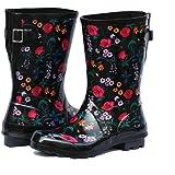 Z. Emma Women's Adjustable Buckle Outdoor Slip Resistant Waterproof Printed Mid Calf Rain Boots