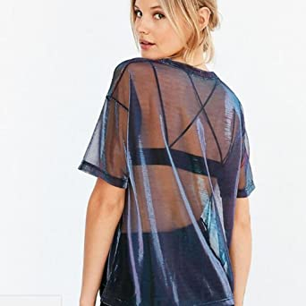 Amazon.com: DondPO Women Sexy Hollow Transparent Round Neck Short Sleeve T-Shirt Top Blouse Clubwear: Clothing
