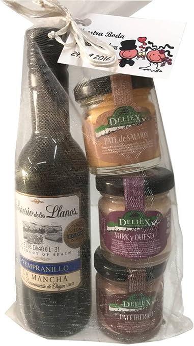 Regalo de vino Señorío de los Llanos Tempranillo con 3 tarros de paté de varios sabores (ibérico, de salmón y de york y queso) para invitados (Pack 24 ud): Amazon.es: Hogar