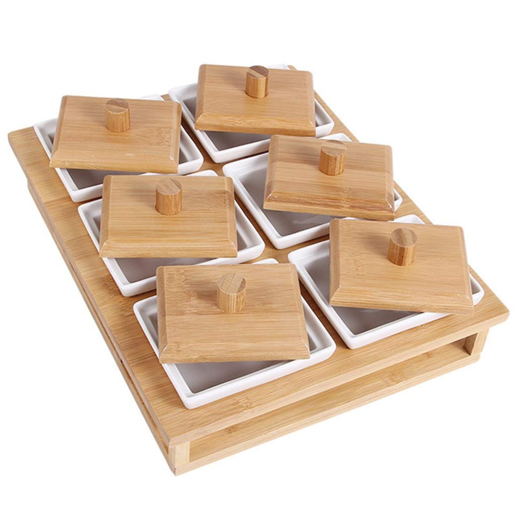 Wooden Dried Fruit Plate, Divided Fruit Plate, Covered Multi-grid Storage Box, Ceramic Candy/Snack Platter (Size : Six grids)