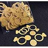 FECEDY Glittery Gold Ring Confetti for Wedding Party Decoration 200pcs/pack
