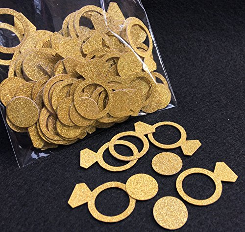 Price comparison product image FECEDY Glittery Gold Ring Confetti for Wedding Party Decoration 200pcs/pack