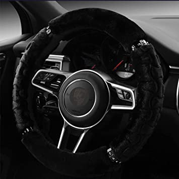 Demiawaking Universal Soft Warm Steering Wheel Cover Fluffy Faux Fur Steering Wheel Protection Covers Wrap for Winter Burgundy