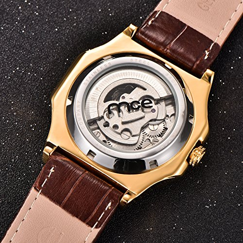 Skeleton Mens Automatic Mechanical Mens Wrist Watch - ManChDa Brown Genuine Leather Moon Sun Phase Blue Dial by ManChDa (Image #4)