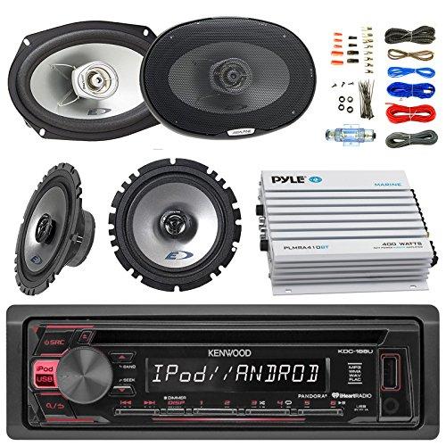 "Kenwood KDC168U Car Bluetooth Radio USB AUX CD Player Receiver - Bundle Combo with 2X Alpine 6.5"" 80W 2-Way Coaxial Car Speakers + 2X 6x9 Inch 280W Black Speaker + 4-Channel Amplifier + Amp Kit"