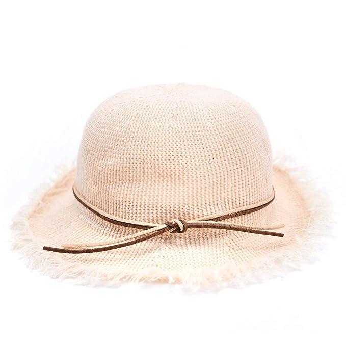 91a2be7b1d4a2c Amazon.com: accsa Kid Girl Bow Foldable Straw Fedora Panama Brim Hat Summer  Beach UPF Sun Protection White Age 3-6: Clothing