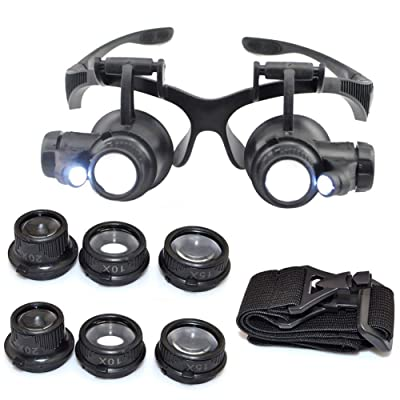 10X 15X 20X 25X Headband Magnifier Double Eyes Glass Jeweler Loupe with 2 LED Lights 8 Replaceable Lens for Jeweler Watch Repair: Arts, Crafts & Sewing