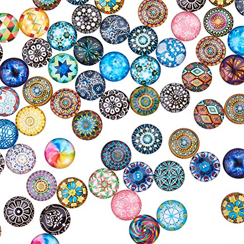(200PCS 12mm Mixed Color Mosaic Printed Glass Half Round/Dome Cabochons for Jewelry Making)