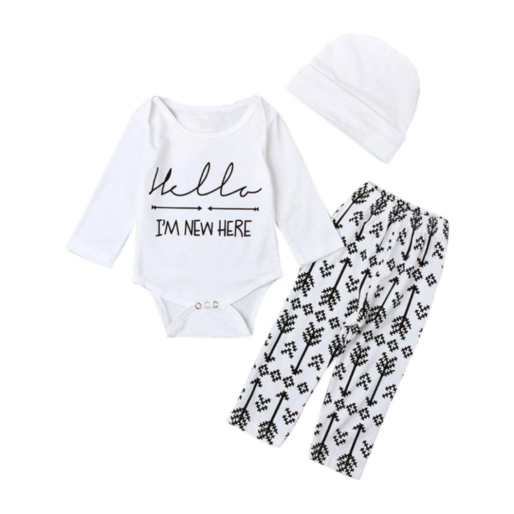 Gotd Baby I AM NEW HERE Letter Arrows Romper Tops Pants Hat