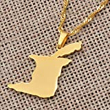 Mercury_Group, Trinidad and Tobago Map Pendant and Necklace Gold Color Trinidad & Tobago Jewelry Gifts (Length: 45cm Thin Chain)